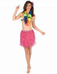 Roze Hawaiiaanse papieren rok voor volwassenen