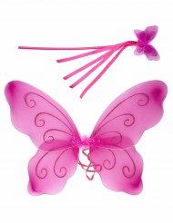 Roze vlindervleugels en toverstaf voor kinderen