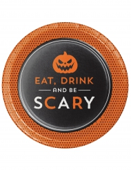 """Set 8 """"Eat, Drink and Be Scary"""" bordjes 18 cm"""