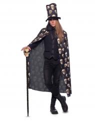 Doodskop cape met hoge hoed voor volwassenen