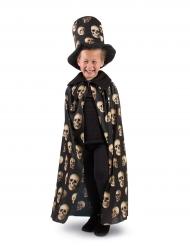 Doodskop cape met hoge hoed voor kinderen