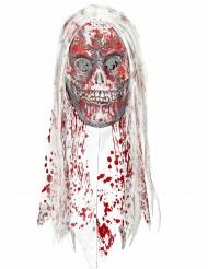 Bloederig zombie masker met haren voor volwassenen