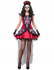 Kleurrijk rood Dia de los Muertos kostuum voor vrouwen