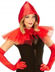 Rode mini cape met capuchon voor vrouwen