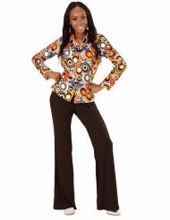 Groovy jaren 70 bubbel blouse voor vrouwen