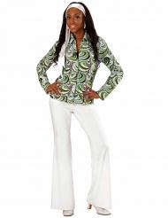 Jaren 70 groovy golven blouse voor vrouwen