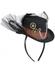Zwarte Steampunk hoed met sluier