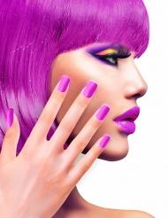 Zelfklevende nep nagels fuchsia roze paars