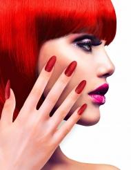 Rode glitter nep nagels voor volwassenen