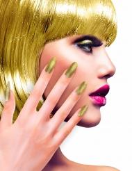 Goudkleurige glitter nepnagels voor volwassenen