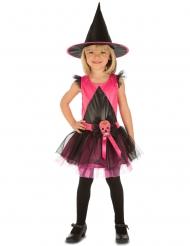 Roze Dia de los Muertos heks kostuum voor meisjes