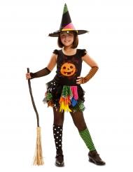 Gekleurde pompoen heks kostuum voor meisjes
