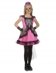 Roze dame Dia de los Muertos kostuum voor meisjes