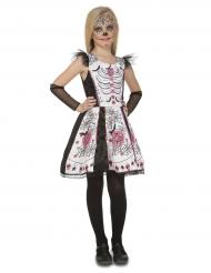 Wit Dia de los Muertos skelet kostuum voor meisjes