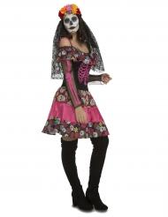 Roze dame Dia de los Muertos outfit voor vrouwen