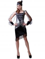 Zilverkleurig jaren 30 kostuum voor vrouwen
