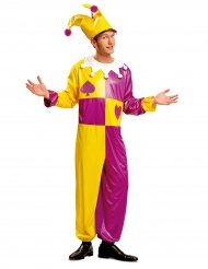 Geel en paars hofnar kostuum voor mannen