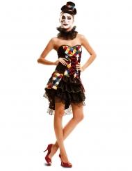 Veelkleurig en geruit nar clown kostuum voor vrouwen