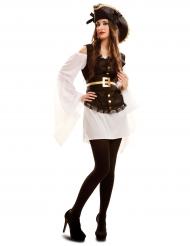 Wit met bruin piraten kostuum voor vrouwen