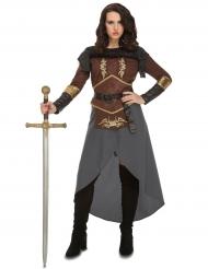 Bruin en grijs strijder kostuum voor vrouwen