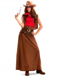 Lang cowgirl kostuum voor vrouwen