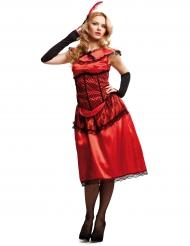 Rood cabaret dame kostuum voor vrouwen