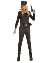 Sexy leather look SWAT kostuum voor vrouwen