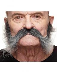 Grijze snor met bakkebaarden voor mannen