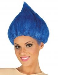 Blauwe troll pruik voor volwassenen
