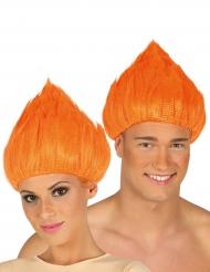Oranje trol pruik voor volwassenen