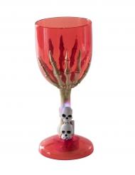 Rode lichtgevende skelet hand glas