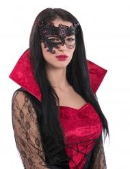 Zwart en rood half masker met ketting voor vrouwen