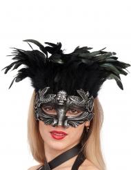 Zilverkleurig masker met veren voor vrouwen