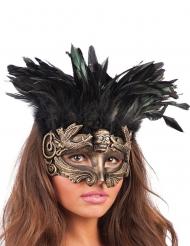 Goudkleurig masker met veren voor vrouwen
