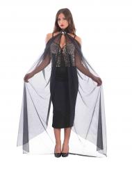 Lange zwarte cape met ketting voor vrouwen