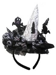 Heksen hoed op haarband voor dames