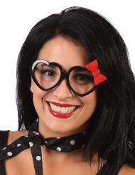 Zwarte hartenbril met strikje voor volwassenen