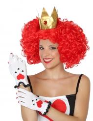 Rode harten kaarten handschoenen voor volwassenen