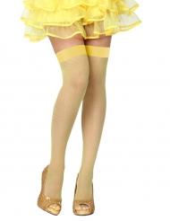 Gele netstof kousen voor vrouwen