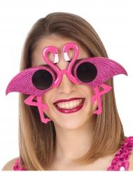 Roze glitter flamingo bril voor volwassenen