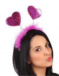 Roze hartjes haarband met bont voor volwassenen