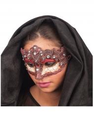Bordeaux rood en goudkleurig masker voor vrouwen
