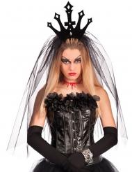 Zwarte kroon met sluier voor vrouwen