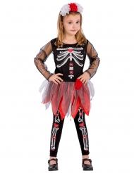 Rood en zwart skelet kostuum voor meisjes