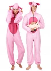 Roze varken koppelkostuum voor volwassenen