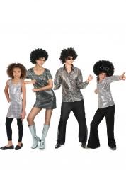 Zilverkleurig disco familie kostuum