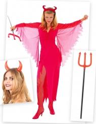 Duivel kostuum pack met hoorns en drietand voor vrouwen