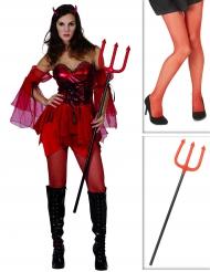 Duivel kostuum pack met legging en drietand voor vrouwen