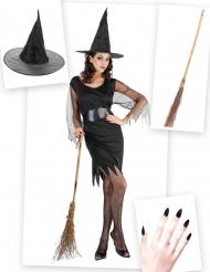 Heksen kostuum pack met bezem en hoed voor vrouwen