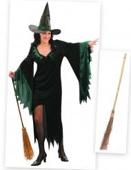 Heksen kostuum pack met bezem voor vrouwen